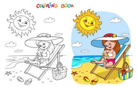 Coloring book or page. A girl in a swimsuit sits on a lounger and smears herself with sunscreen, the sun above the sea smiles and looks at her.
