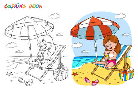 Coloring book or page. A girl in a swimsuit sits on a lounger under a beach umbrella and smears herself with sunscreen Illustration
