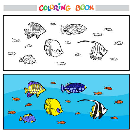 Coloring book or page. Underwater life. Large and small colorful fish swim against the background of corals. Illustration