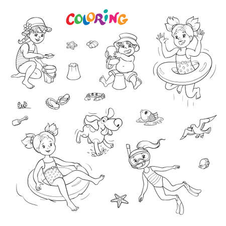 Coloring book or page. Black and white outline set of joyful children on vacation by the sea with a dog and other animals.