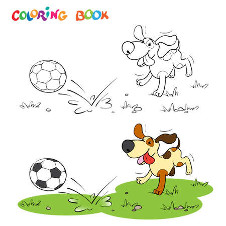 Coloring book or page. A cheerful dog runs across the field for a soccer ball.