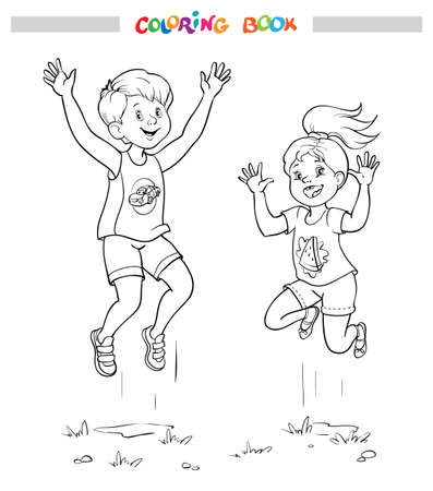 Black and white coloring book or illustration. Joyful girl and boy are jumping. Cut out illustration on white background Illustration