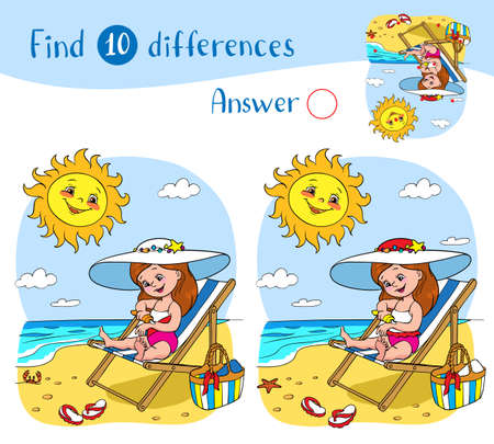 Find 10 differences. Educational game for children. A girl in a swimsuit sits on a lounger and smears herself with sunscreen, the sun above the sea smiles and looks at her.