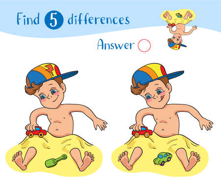 Find 5 differences. Educational game for children. A happy little boy in a hat play in the sand and car toys.