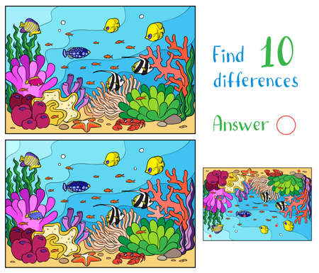 Find 10 differences. Educational game for children. Underwater life. Multi-colored fish swim against the background of corals. At the bottom lies a starfish and a crab.