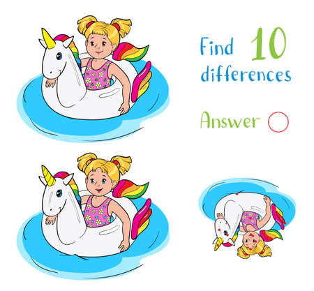 Find 10 differences. Educational game for children. Happy little girl swim on unicorn rubber ring in the water