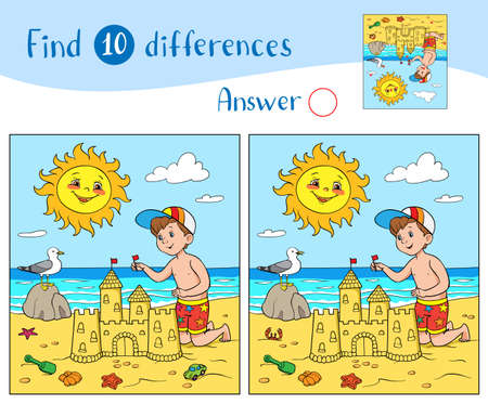 Find 10 differences. Educational game for children. The boy is building a sandcastle on the beach near the sea. The sun smiles in the sky and the seagull on the stone