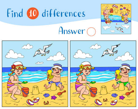 Find 10 differences. Educational game for children. Happy children play in the sand on the beach near the sea, a seagull flies in the sky.