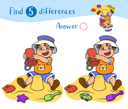 Find 10 differences. Educational game for children. Happy child in shorts, t-shirt, and panama hat play in the sand and toys.