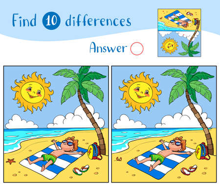 Find 10 differences. Educational game for children. The boy sunbathes on the beach with a palm tree near the sea, the sun looks at him and smiles.