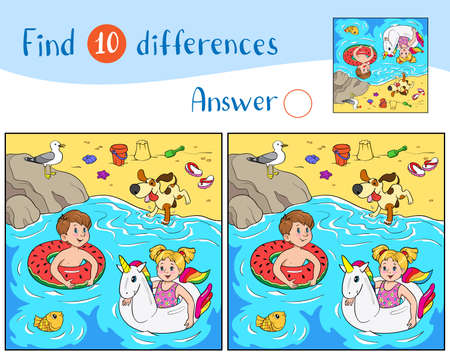 Find 10 differences. Educational game for children. Cheerful boy and girl swim on rubber rings in the water, a dog jumps on the shore, a seagull sits on a stone