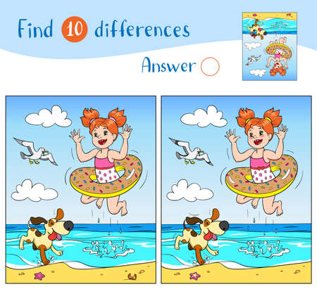 Find 10 differences. Educational game for children. Joyful girl and dog are jumping into the sea on the beach, a seagull is flying in the sky.