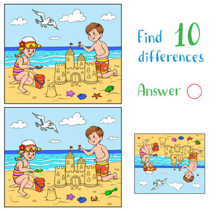 Find 10 differences. Educational game for children. A girl and a boy are playing on the beach near the sea. The boy is building a sandcastle. The girl plays with a bucket and sand.