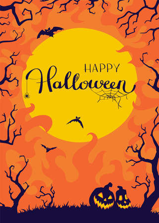 Halloween night background with Moon and Jack O' Lanterns. Vector poster illustration.