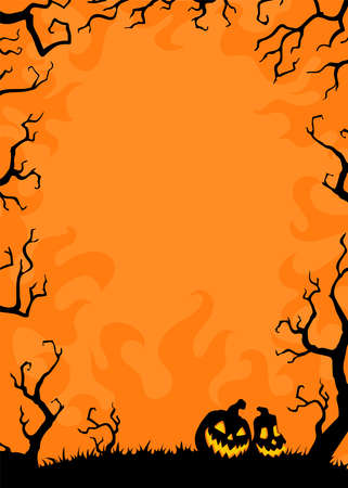 Night background with black branches on orange. Vector frame illustration with place for your text. Illustration