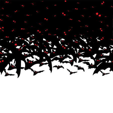 Vector horizontal Seamless Pattern with flying black bats on white background