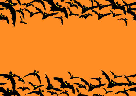 Vector horizontal Seamless Pattern with flying black bats on orange background Illustration