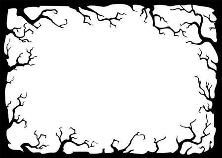 background with black branches on white. Vector frame illustration with place for your text.