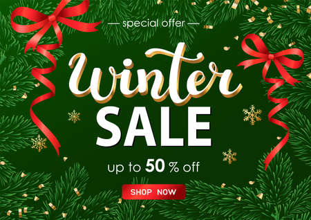 Winter sale poster or banner with discount text with fir branches on green background for shopping promotion. Vector illustration.