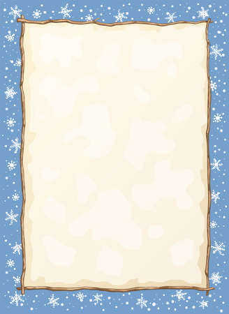 Vector frame of winter holiday background with tree branches, snowflakes, and empty space for your text. Illustration