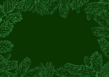Green frame with pine branches for Christmas illustration, winter poster and card design.