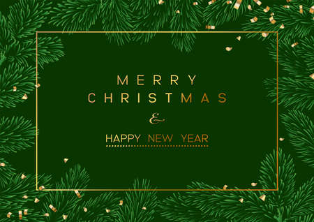 Christmas Poster - Illustration. Vector illustration of Christmas Background with branches of Christmas tree on the green. Illustration