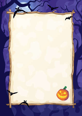 Halloween night background with Moon and Jack O' Lanterns. Vector poster illustration with place for your text.