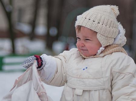 poppet: Little girl with bag