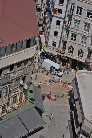 View from Galata tower to one of streets of Istanbul