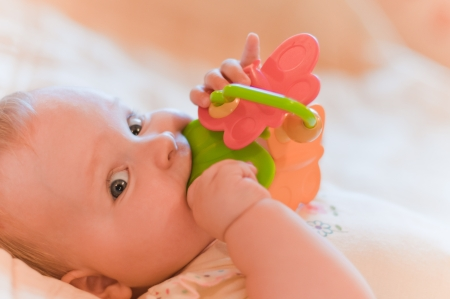 Closeup portrait of baby playing with toy photo
