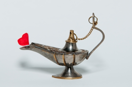 oil lamp with the heart photo