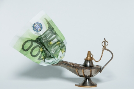 oil lamp with the money photo