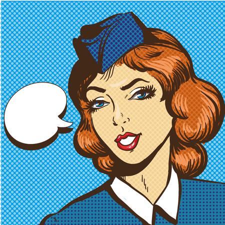 Stewardess illustration in pop art retro comic style. Speech bubble