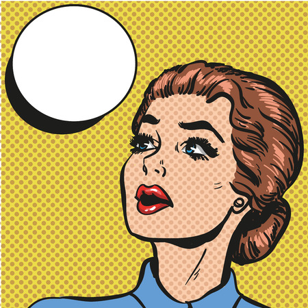 吹き出しとポップアート レトロ コミック スタイル女性