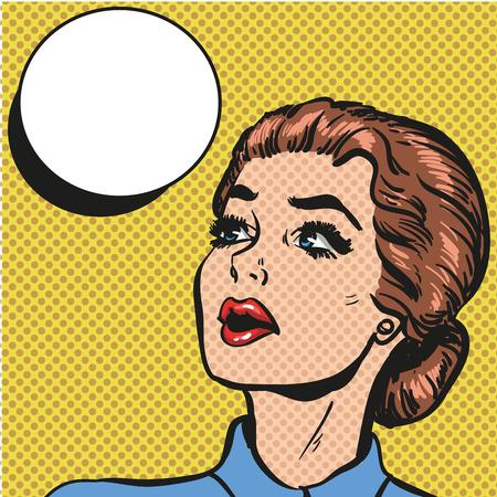 Pop art retro comic style woman with speech bubble