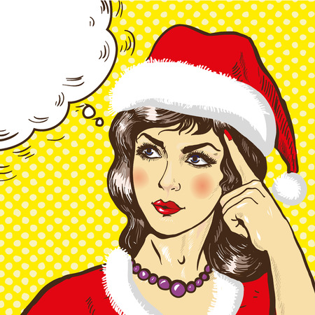 flirting: Woman in christmas clothes thinking vector illustration in pop art retro comic style
