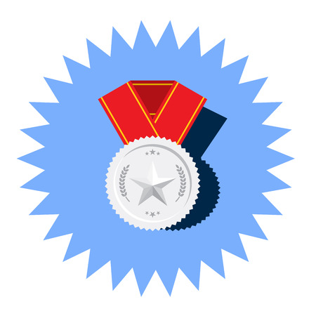 Silver medal with star flat icon or logotype