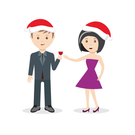 Man and woman in christmas hats with wine flat design character