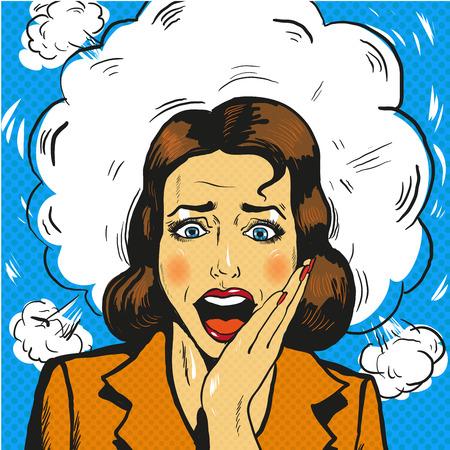 Illustrazione comica di stile di panico della donna di Pop art retro
