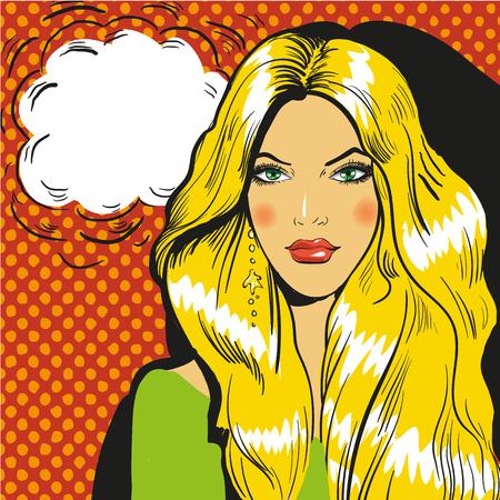 blond: Beautiful blond woman pop art comic illustration