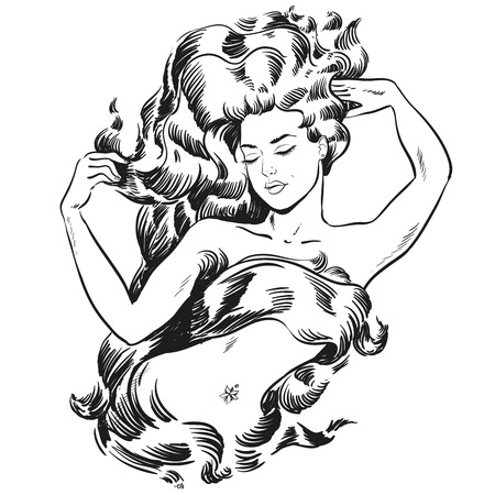 Young becautiful woman with long hair line illustration