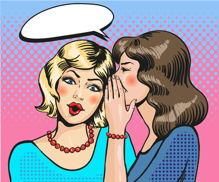 Women whisper pop art comic vector Illustration