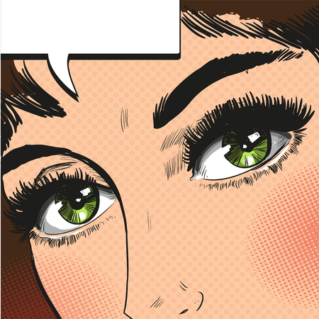 eyes close up: Close up view eyes woman pop art retro vector Illustration