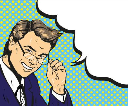 Man in glasses pop art speech bubble vector illustration