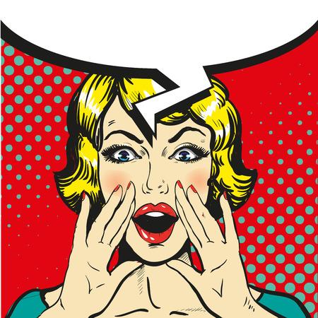 hysterical: Woman shouting pop art comic retro vector. Speech bubble Illustration