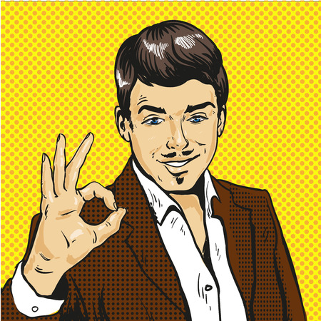 Man showing ok sign pop art comic