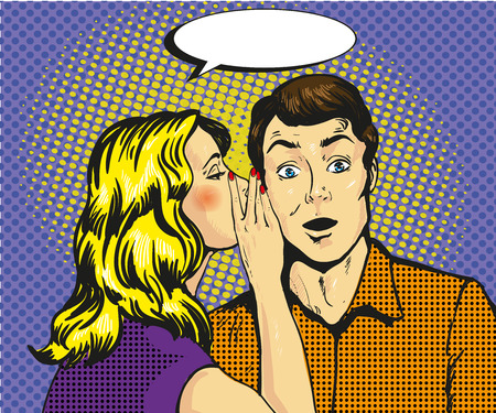 男と女のささやきポップアート ベクトル図
