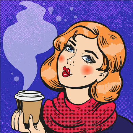 Girl with coffee pop art comics