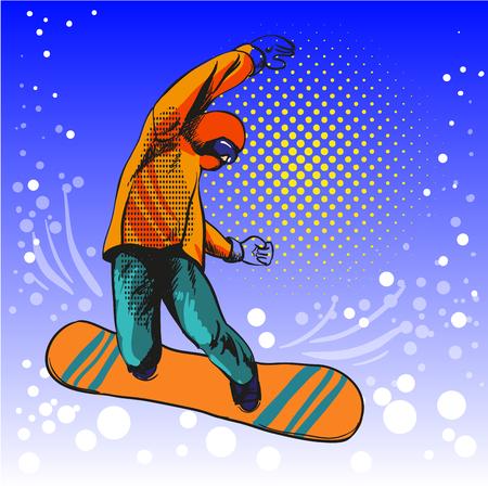 snowboard: Man jumping on snowboard Illustration