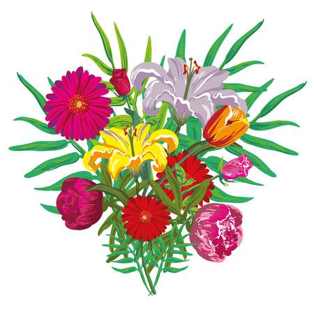dalmatian: Flower buquet vector isolated Illustration